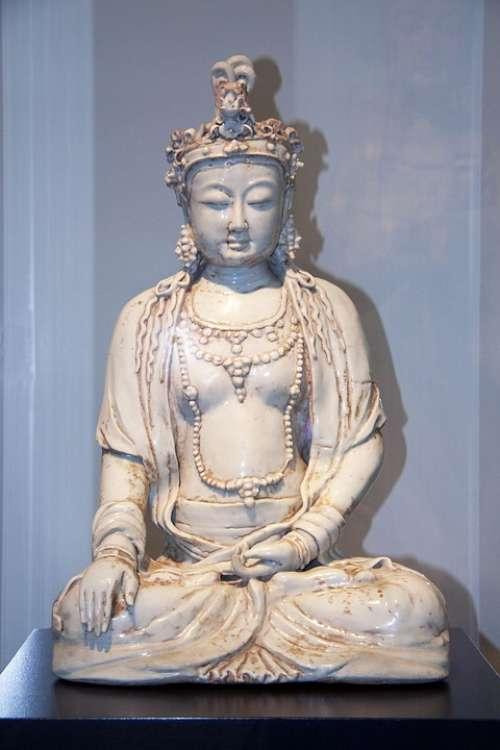 Buddha Clay Sculpture Glazed Figure Deity Statue