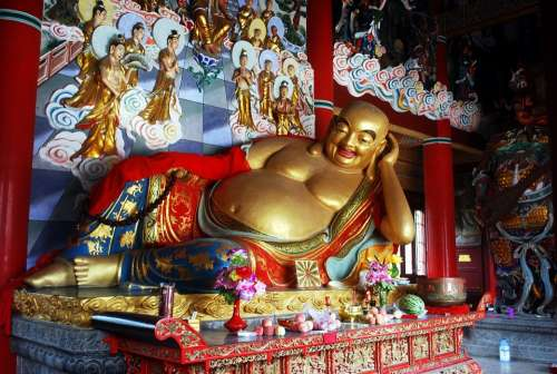 Buddha Happy Smile Religion Temple Deity