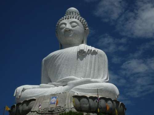 Buddhist Statue Big White Thailand Phuket Holiday