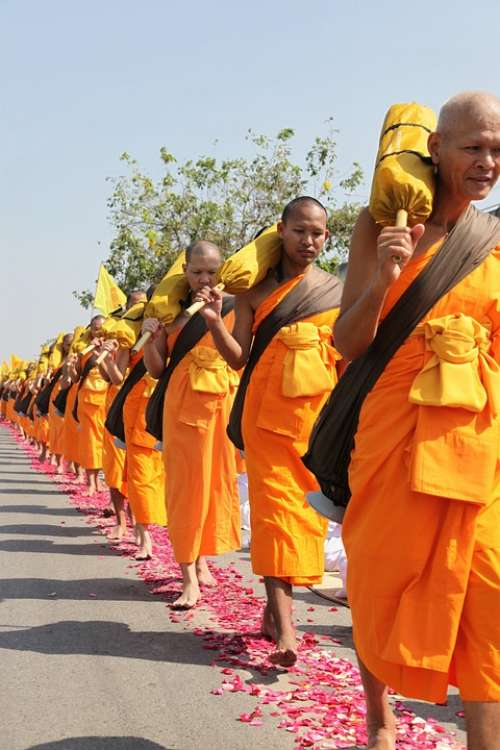 Buddhists Monks Buddhism Walk Orange Robes Thai