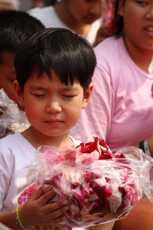 Buddhists Rose Petals Children Monks Tradition