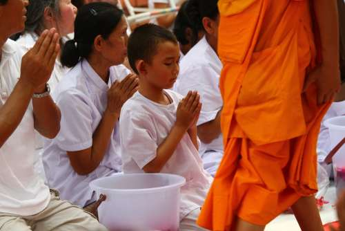 Buddhists Monks Meditate Walk Tradition Ceremony