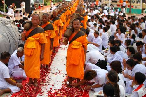 Buddhists Monks Walk Tradition Ceremony Thailand