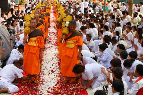 Buddhists Monks Walk Tradition Ceremony Thailand