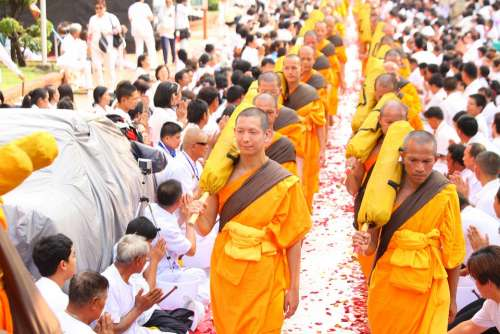Buddhists Monks Orange Robes Ceremony Convention