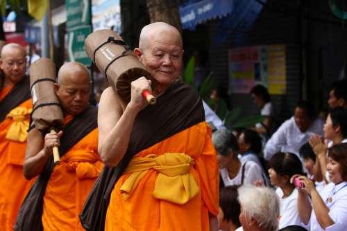 Buddhists Monks Walk Robes Orange Thailand
