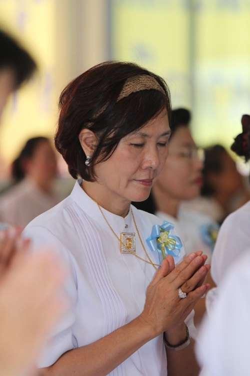 Buddhists Praying People Woman Thailand Thai