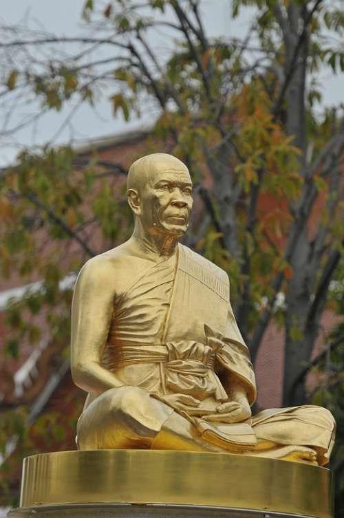 Budha Monk Gold Buddhism Phramongkolthepmuni