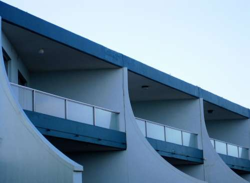 Building White Blue Curved Balconies Slants