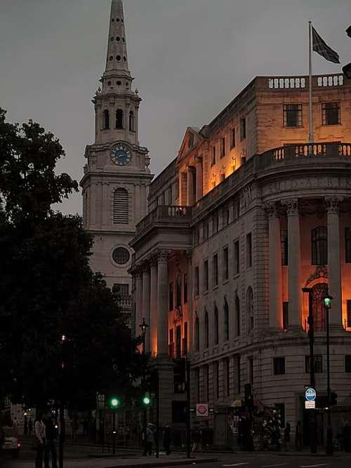 Building Church Evening Lights London