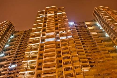 Building Evening Night Lights Mumbai India