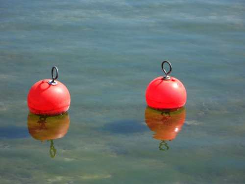 Buoys Pier Port Two Pair Mirroring Water Lake