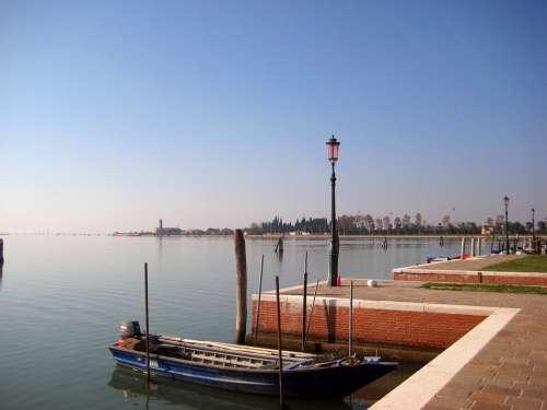 Burano Venice Boat Port Anchorage Italy Promenade