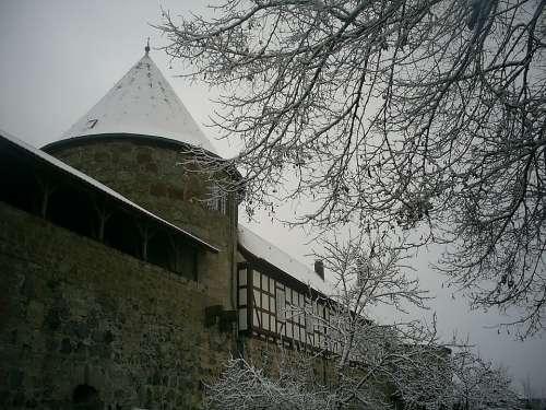 Burg Herzberg Winter Snow Winter Magic