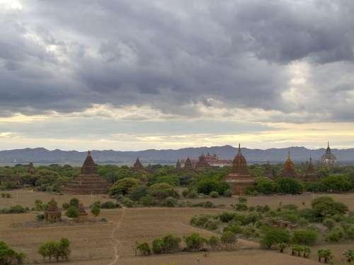 Burma Bagan Temples Clouds