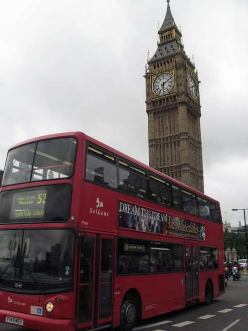 Bus Two-Storied Big Ben Belfry London