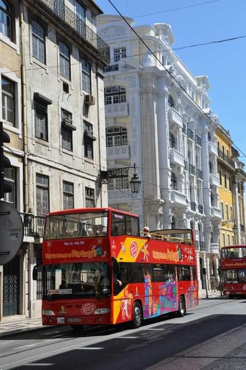 Bus City Street Building Lisbon Portugal