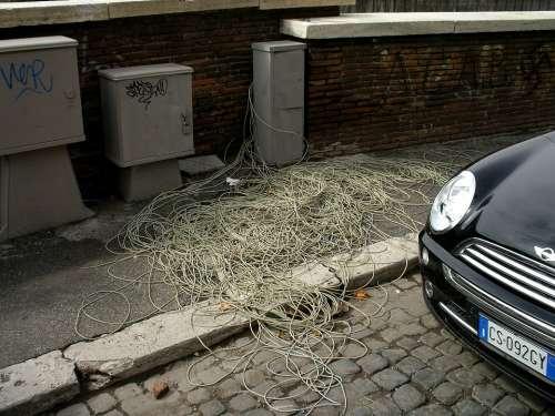 Cable Salad Telephone Cable Telecom Italia Rome