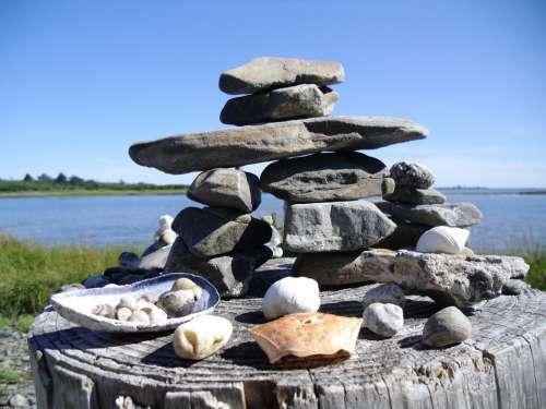 Cairn Ocean Shells Stones Figures Arts