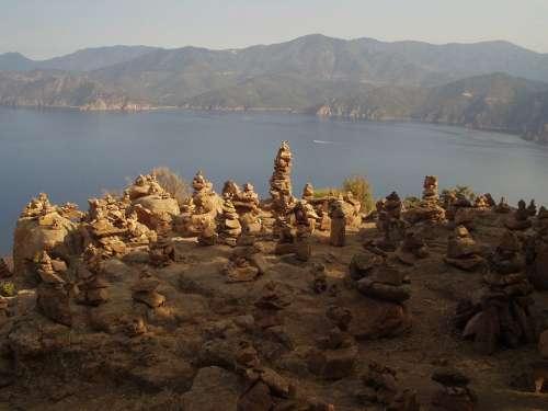 Cairn Steinmann Stones Outlook Sea Corsica