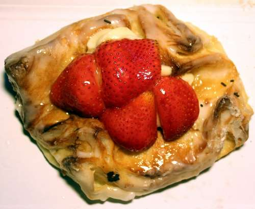 Cake Strawberries Danish Pastry Pastries