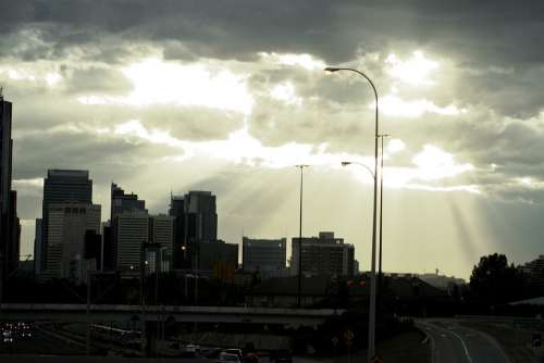 Calgary Sunset Downtown Alberta Canada Skyline