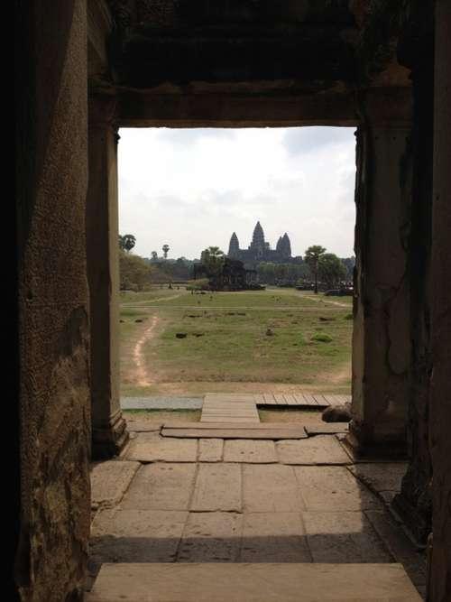 Cambodia Angkor Wat Asia Temple Door