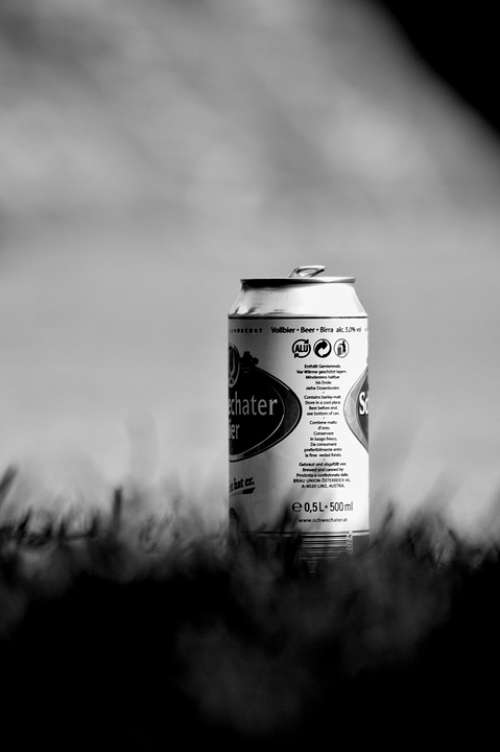Can Beer Grass Black And White Photography Solitude