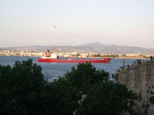 Canakkale Strait Landscape Red Ship