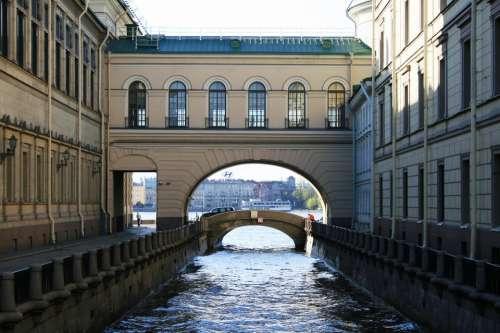 Canal Winter Water Bridge Buildings Walls