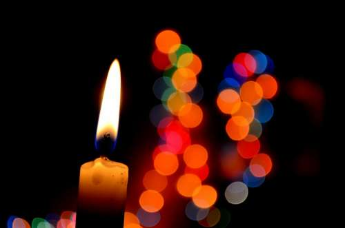 Candle Bokeh Lights Flame Warmth Warm Romantic