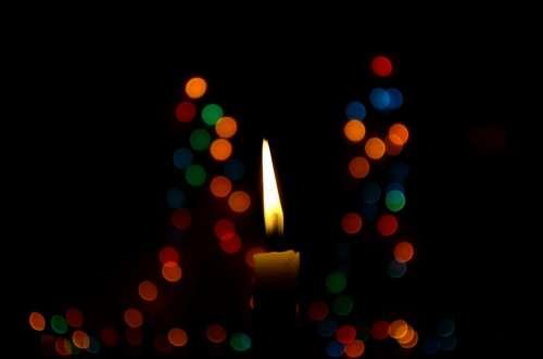 Candle Bokeh Christmas Lights Blue Wax Candle