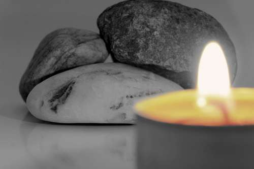 Candle Stones Black And White Flame Burning Candle