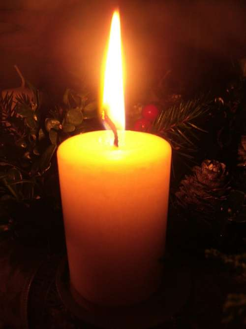 Candle Winter Christmas Light Yellow Fire Flame