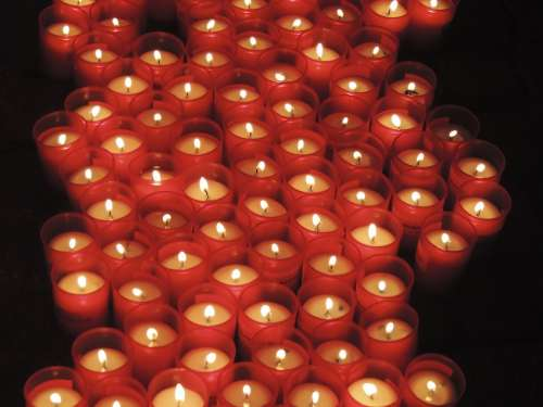 Candles Pray Red Faith Holy Fire Warm Light