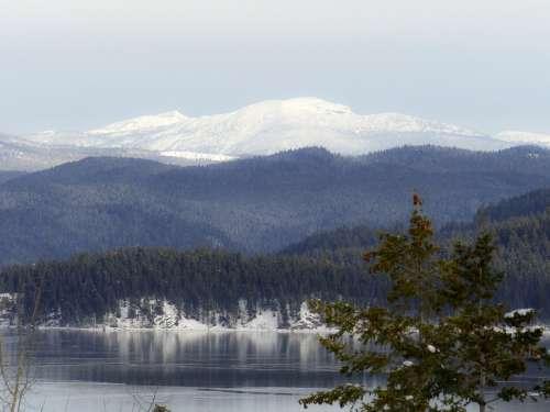 Canim Lake British Columbia Canada Winter Snow