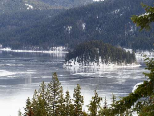 Canim Lake British Columbia Canada Winter Snow