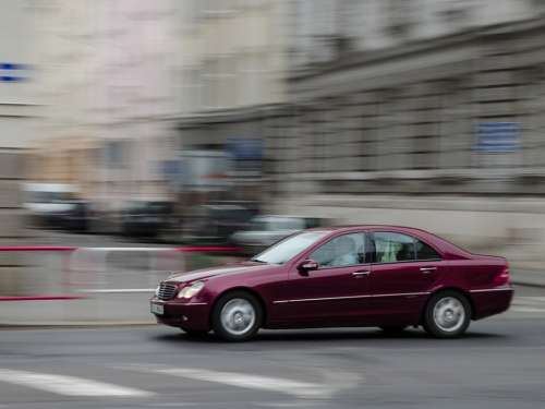 Car Mercedes Motion Panning Path Speed Red