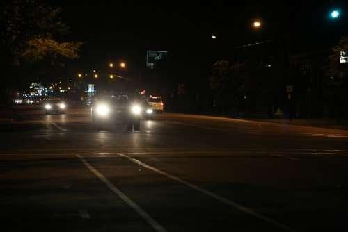 Car Night Headlights Transportation Traffic Lights