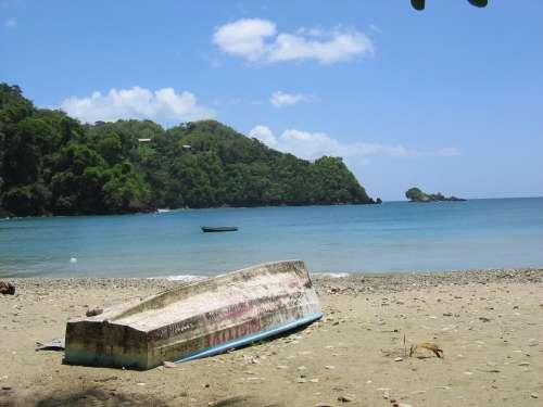 Caribbean Boat Sea Bank Beach Sand Lonely