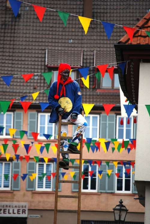 Carneval Clown Man Person Ladder Parade Germany