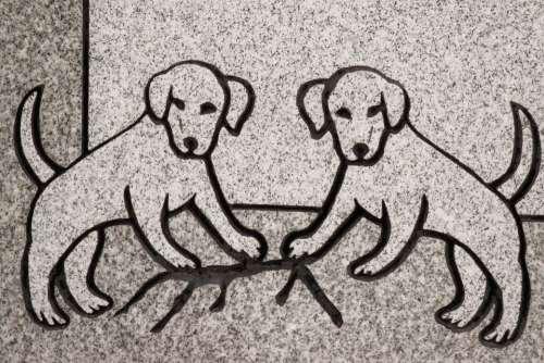 Carving Dog Animal Headstone Symbol Detail