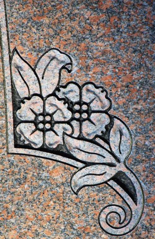 Carving Flowers Headstone Symbol Detail Granite