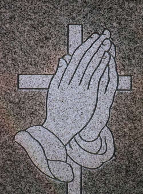 Carving Praying Hands Headstone Symbol Detail