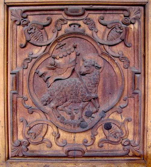 Carving Relief Lamb Pew