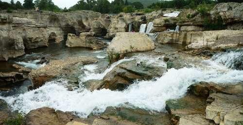 Cascade Of Sautadet Rapids River Ceze Nature Water