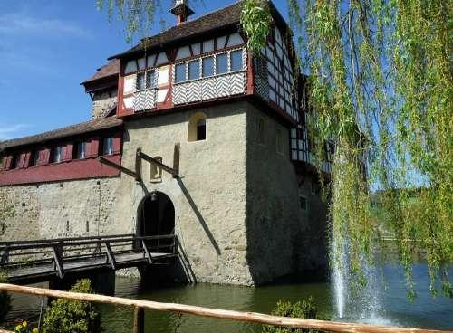 Castle Moated Castle Drawbridge Inn Water
