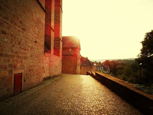 Castle Marburg Sun Away Wall Germany Sublime