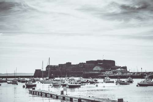 Castle Guernsey History Black And White Boats