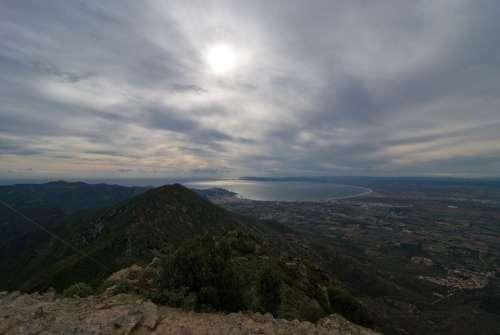 Catalonia Spain Coastline Cloudy Bay Sea